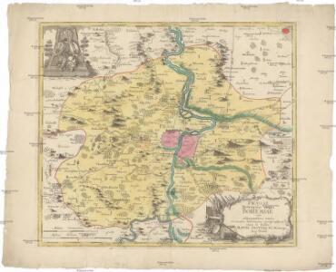 Pragae metropolis regni Bohemiae cum adjacentibus terris accurata descriptio geographica