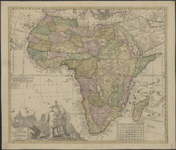 Africae in tabula geographica delineatio admentem Novissimorum eorumque, optimorum Geographorum emendata, indicibus utilissimis aucta et adusum Tyronum imprimis geographicorum variis compendiosae methodi adminiculis accomodata