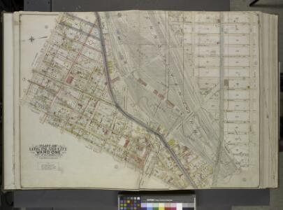 Queens, Vol. 2, Double Page Plate No. 3; Part of Long Island City Ward One (Part of Old Wards 2, 3 and 4); [Map bounded by Washington  Ae., Pomeroy St. (8th Ave.), Jackson Ave., Skillman Ave., Van Pelt St., Nott     Ave.; Including Thomson Ave., Purve