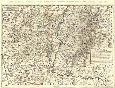 L'Alsazia diuisa nel Langrauiato dell'Alta e della Bassa Alsazia, nella Suntgouia, nell'Ortnauia, e nella Brisgouia