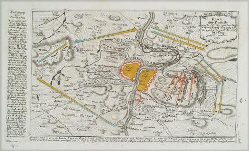 Plan der Battaille welche d. 6. Maj zwischen den Kayserl. Königl. Ungarische[n] u. Königlich Preusische[n] Armee bey Prag geliefert worden. 1757