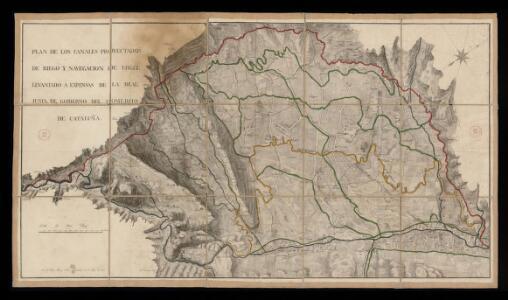 Plan de los canales proyectados de riego y navegación de Urgel /levantado a expensas de la Real Junta de Gobierno del Comercio de Cataluña por D. Tomas Soler y Ferrer, Barcelona 22 de mayo de 1815