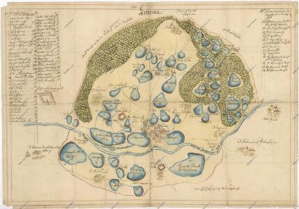 Mapa lesů a rybníků na statku Kestřany 1