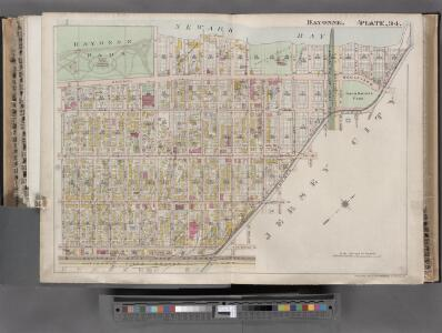 Jersey City, V. 1, Double Page Plate No. 34 [Map bounded by Newark Bay, Jersey City, Avenue E, E. 42nd St., W. 42nd St.] / compiled under the direction of and published by G.M. Hopkins Co.