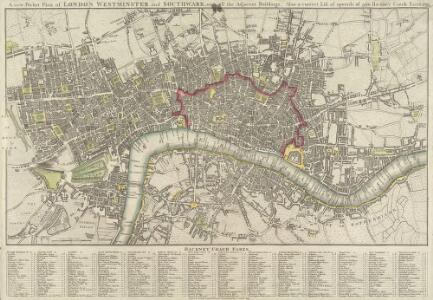 A new Pocket Plan of LONDON WESTMINSTER and SOUTHWARK, with all the Adjacent Buildings. Also a correct List of upwards of 300 Hackney Coach Fares 1797.
