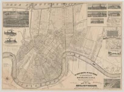 Map of the city of New Orleans showing location of exposition grounds and all approaches thereto by land & water