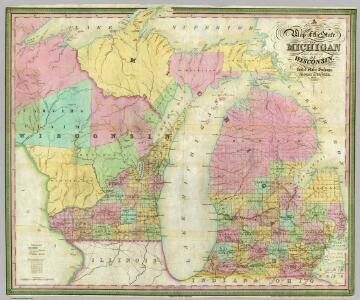 Map of the State of Michigan and Territory of Wisconsin.