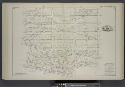 Vol. 1. Plate, K. [Map bound by Decatur St., Saratoga Ave., Herkimer St., Howard Ave., Atlantic Ave., Buffalo Ave., Patchen Ave.; Including Bainbridge St., Chauncey St., Marion St., Sumpter St., Mc Dougall St., Fulton St., Hull St., Herkimer St., Ralph A