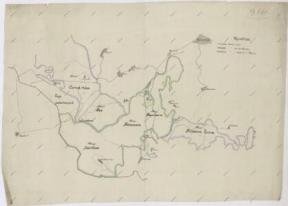Hraniční mapa lesů velkostatku Kout-Trhanov a lesů města Domažlice