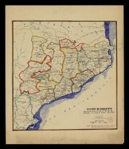 Divisió de Catalunya segons la relació de les corts del S.S. Rei Pere III, celebrades a la ciutat de Cervera. Any 1359 / dt. per V. Turell