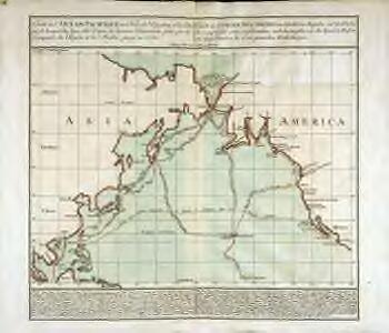 Carte de l'océan Pacifique au nord de l'equateur, et des côtes qui le bornent des deux côtés