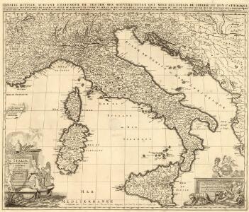 L'Italie distinguee juivant l'Estendiee de Touts les Estats Royaumes Republiques duches Principautés