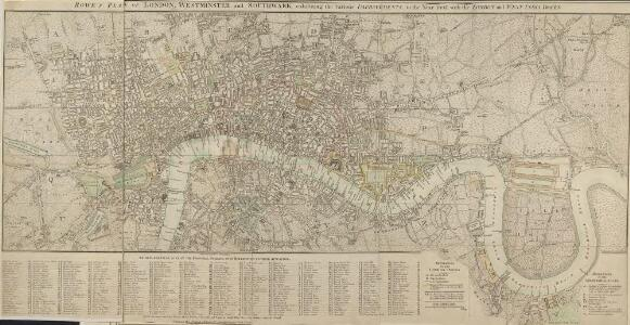 ROWE'S PLAN OF LONDON, WESTMINSTER and SOUTHWARK, exhibiting the various IMPROVEMENTS, to the Year 1804 with the LONDON and WEST INDIA DOCKS