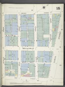 Manhattan, V. 1, Plate No. 15 [Map bounded by Church St., Canal St., Elm St., Franklin St.]