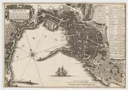 Genova : nel solo giro delle sue mura vecchie con l'esposizione delle Chiese e luoghi principali
