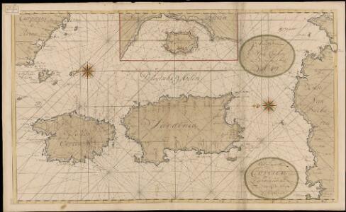 De eijlanden van Corcica en Zardinia met de tegen overcust van Barbaria
