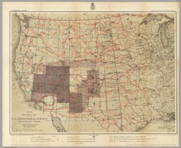 1876. Progress Map Of The U.S. Geographical Surveys West Of The 100th Meridian.