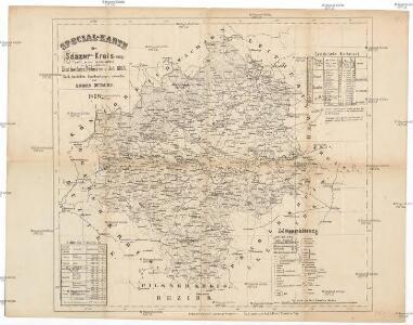Special-Karte des Saazer Kreis, resp. polit. Verwaltungsbezires nach der politischen Eintheilung Böhmens v. Jah. 1868