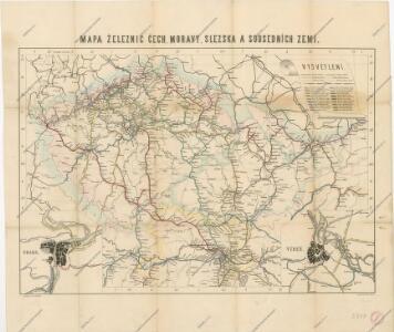 Mapa železnic Čech, Moravy a Slezska