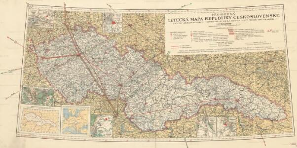 Přehledná letecká mapa Republiky československé: Carte aéronautique d'ensemble de la République Tchécoslovaque