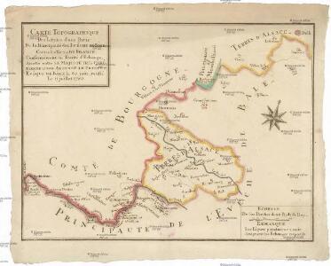 Carte topographique des limites d'une partie de la principauté le l'Lveche de Bâle centre les terre de France, conformément au Traitté d'Echange, arretté entre Sa Majesté tres chretienne et Son Altesse le prince-eveque de Bâle le 20. juin, ratifié le 11 juillet 1780