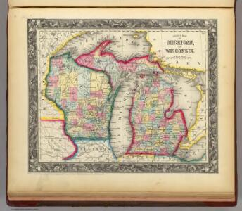 County Map Of Michigan, And Wisconsin.