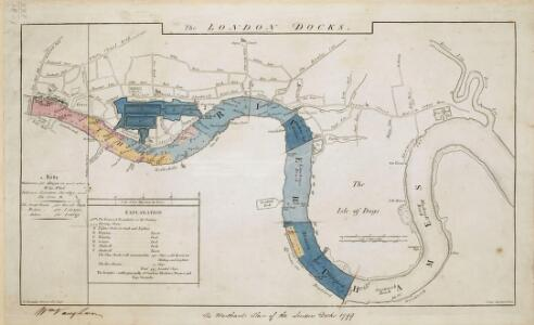 The Merchants' Plan of the London Docks, by D. Alexander, 1796; with the Stations for Ships in the River