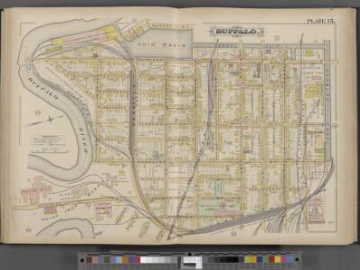 Buffalo, Double Page Plate No. 15 [Map bounded by Wabash St., Hamburg Canal, Katharine St., Buffalo River]