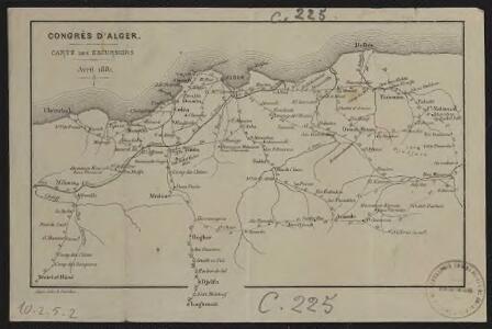 Congrès d'Alger. Carte des excursions