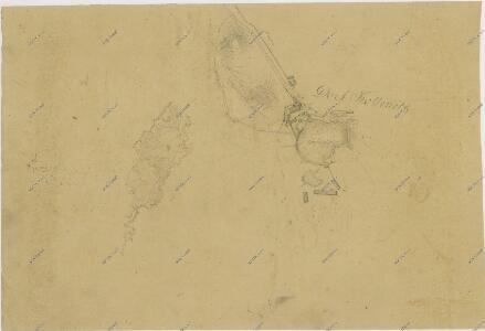 Záměrná mapa - brouillon - části vsi Kolence s rybníkem 1