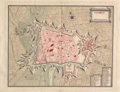 A colored plan of the town and citadel of Cambray
