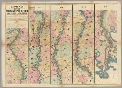 Lloyd's map of the Lower Mississippi River from St. Louis to the Gulf of Mexico.