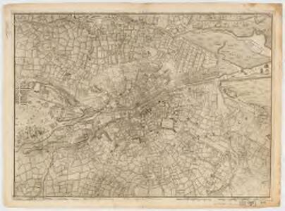 A plan of the city of Dublin and the environs on the same scale of London, Paris, & Rome = Plan de Dublin et de ces environs sur la meme echelle de ceux de Londres, Paris, et Rome