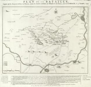 Plan de la Bataille, Gagnée par Sa Majesté le Roi de Prusse, contre les Armées combinées de l'Empire & de France, près de Rosbach, le 5. Novembre, 1757