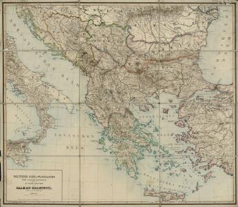 Balkan-Halbinsel.Politische Schul-Wandkarten der Länder Europa's