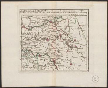 Carte de la Hollande où sont les environs de Nimegue, de Grave, d'Arnhem dans le Dche. de Gueldre