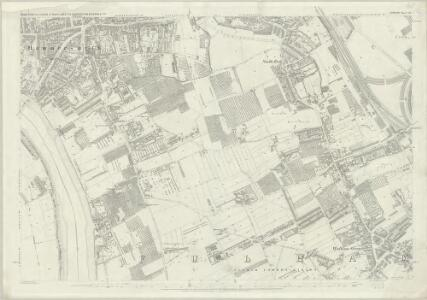 London (First Editions c1850s) LII (includes: Fulham; Hammersmith) - 25 Inch Map