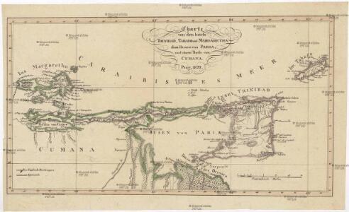 Charte von den Inseln Trinidad, Tabago und Margaretha, dem Busen von Paria, und einem Theile von Cumana