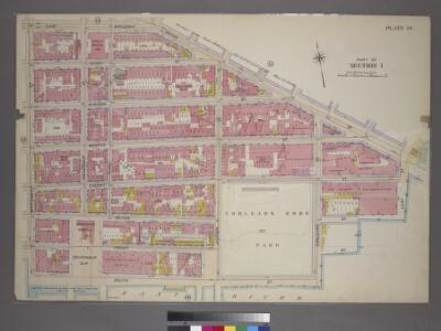 Plate 14, Part of Section 1: [Bounded by East Broadway, Grand Street, East Street, Water Street, Corlears Street, (East River) South Street and Montgomery Street.]