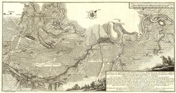 Carte von Linie und Innondation, von Bruchsal bis Kethsch, woselbst die Innondation in Rhein fließet.