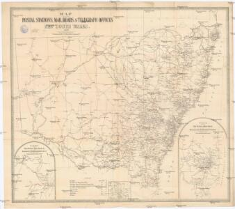 Map shewing the postal stations, mail roads & telegraph offices in New South Wales, 1898