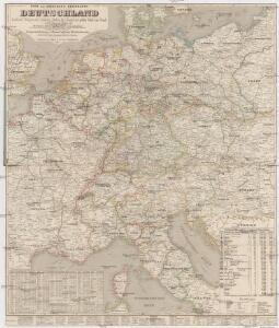 Post- und Eisenbahn-Reisekarte, Deutschland Holland, Belgien, die Schweiz, Italien bis Neapel, der größte Theil von Frankreich, Ungarn, Polen etc