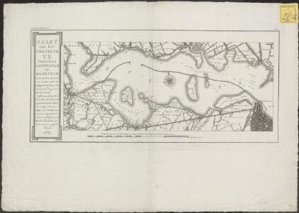 Kaart van het westelyk Ye tusschen Amsteldam en Spaerndam: met de diepten in het zelve, overÃ«en komende met het Amsterdamsche peil, dat is ten naasten by, met den gewoonen vloed by stil weÃar: zynde tevens op deeze kaart met de letters A.B.C.D.E.F.G en H