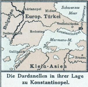 Die Dardanellen in ihrer Lage zu Konstantinopel