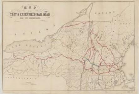 Map of the Troy & Greenfield Rail Road and its connections