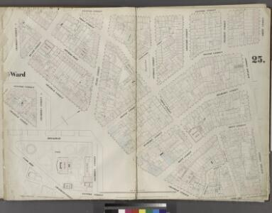 Plate 25: Map bounded by Chambers Street, Center Street, White Street, Orange Street, Bayard Street, Bowery, Chatham Street, Park Row, Chatham Street, Broadway.