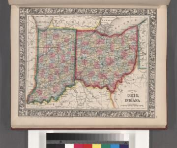 County map of Ohio and Indiana.