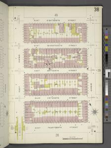 Manhattan, V. 2, Plate No. 38 [Map bounded by E. 18th St., Avenue A, E. 14th St., 1st Ave.]