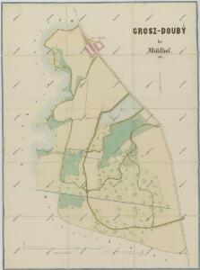 Mapa pozemků dvora Obora v tzv. Velkém doubí 1