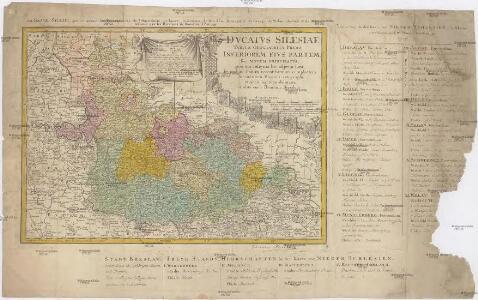 Dvcatvs Silesiae tabvla geographica prima, inferiorem eivs partem, seu novem principatvs, quorum insignia hic adjecta sunt, secundum statum recentissimum complectens